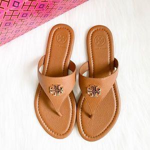 TORY BURCH Jolie Flat Thong Sandals Tan/Gold Size7